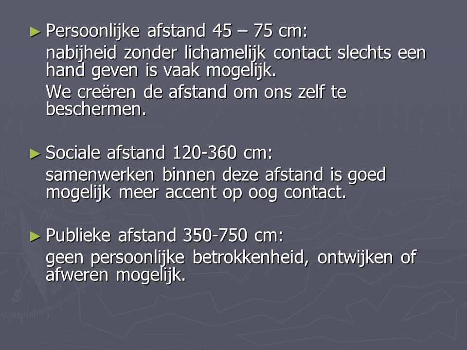 ► Persoonlijke afstand 45 – 75 cm: nabijheid zonder lichamelijk contact slechts een hand geven is vaak mogelijk. We creëren de afstand om ons zelf te