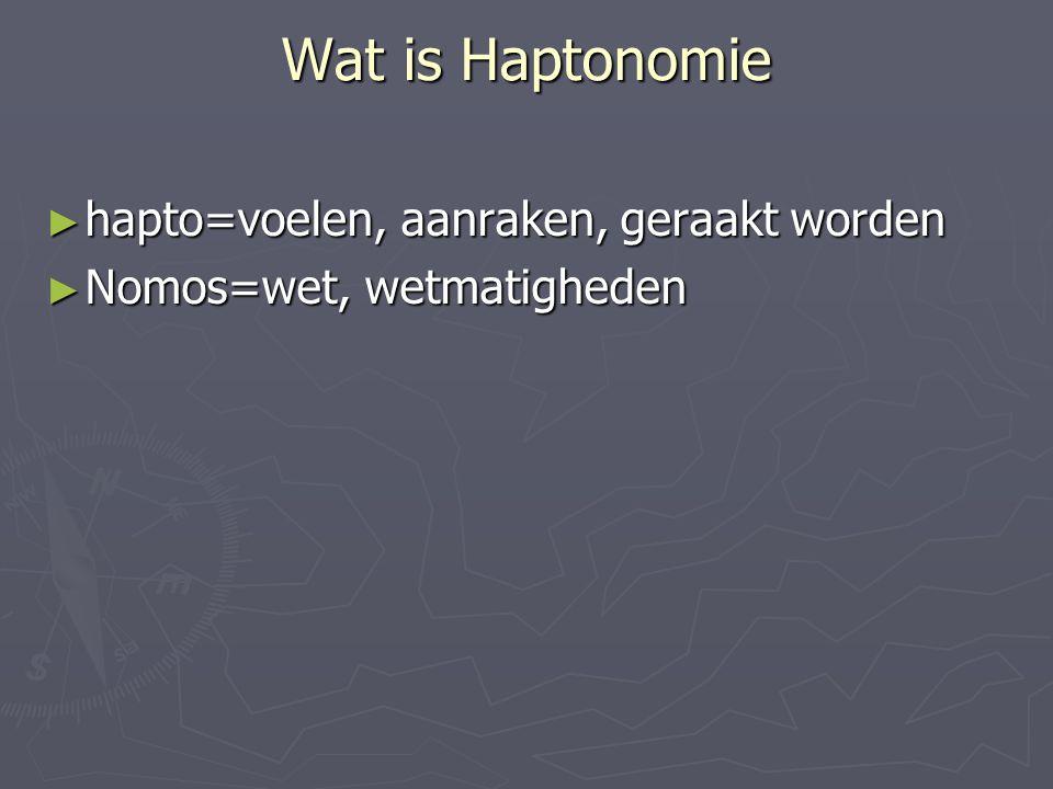 Wat is Haptonomie ► hapto=voelen, aanraken, geraakt worden ► Nomos=wet, wetmatigheden