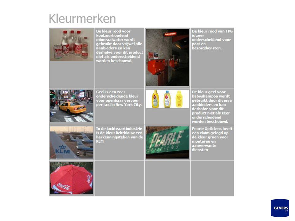 13 Een kleurmerk is een handelsmerk waarbij één of meer kleuren worden gebruikt om de waren en diensten van een onderneming te onderscheiden van die v
