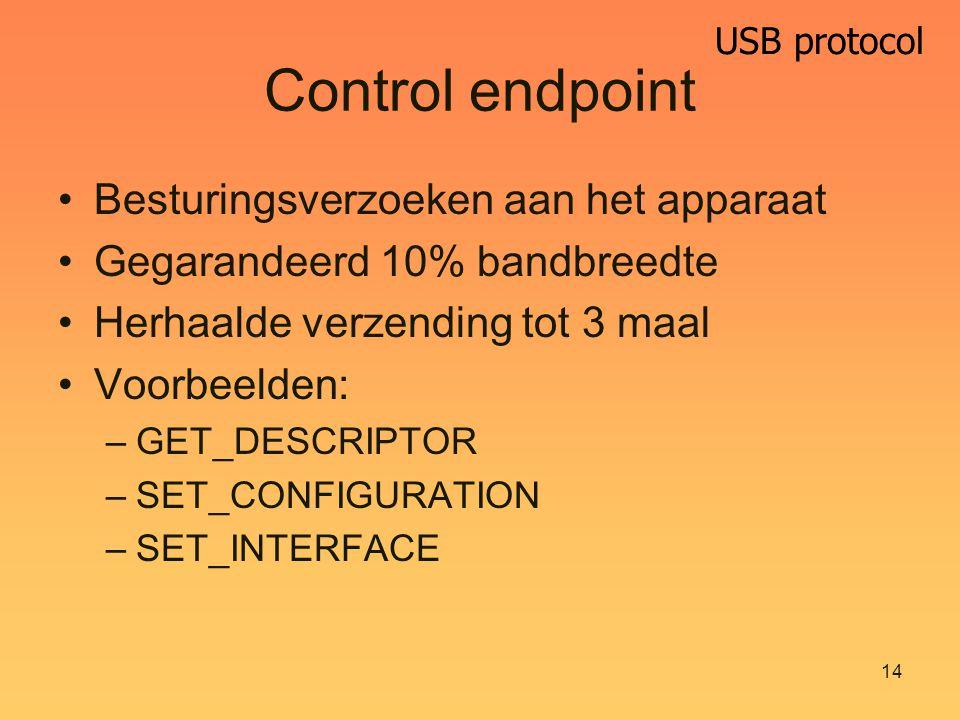 USB protocol 14 Control endpoint Besturingsverzoeken aan het apparaat Gegarandeerd 10% bandbreedte Herhaalde verzending tot 3 maal Voorbeelden: –GET_DESCRIPTOR –SET_CONFIGURATION –SET_INTERFACE