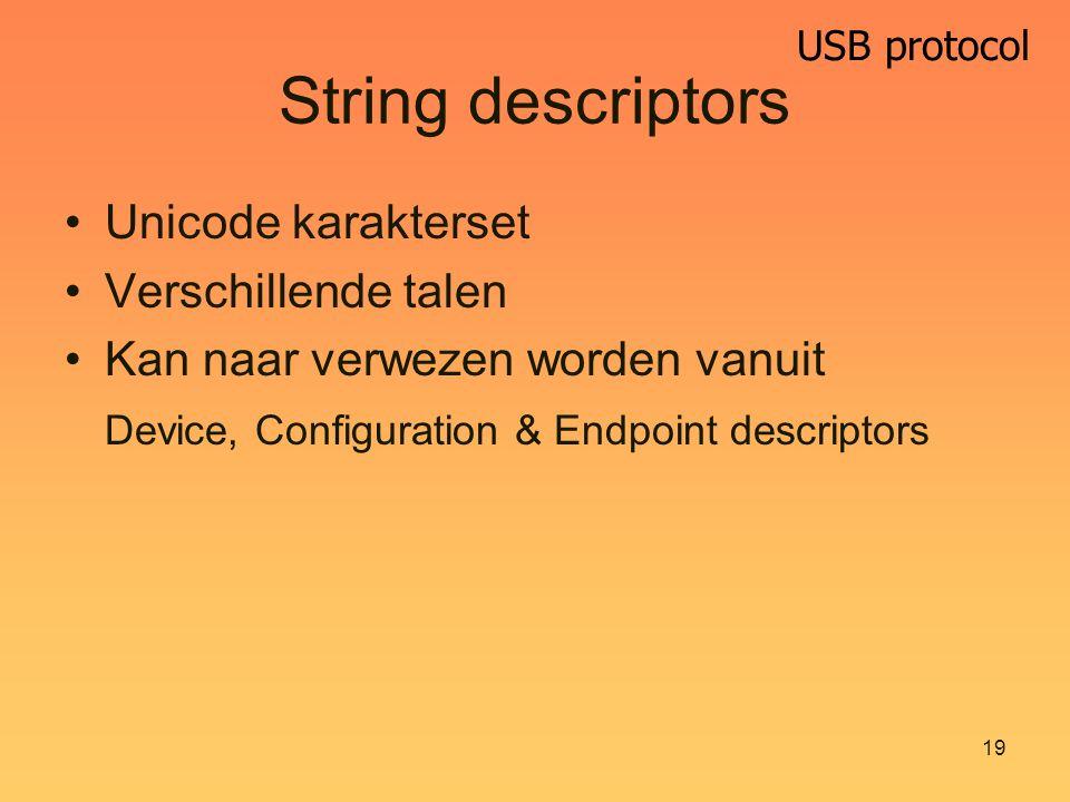 USB protocol 19 String descriptors Unicode karakterset Verschillende talen Kan naar verwezen worden vanuit Device, Configuration & Endpoint descriptors