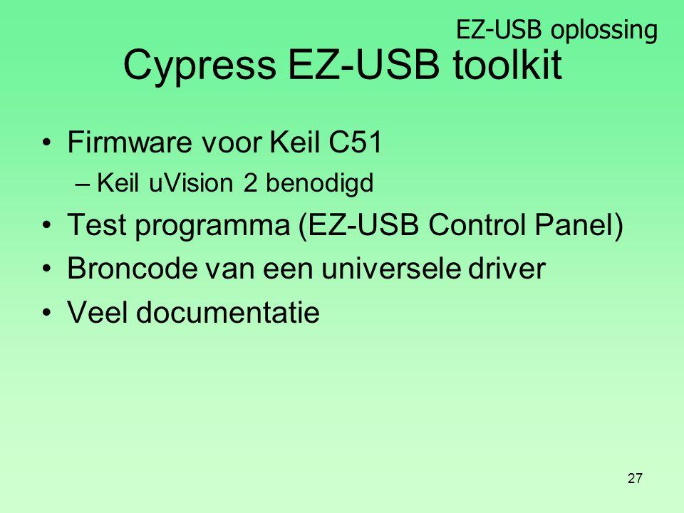 EZ-USB oplossing 27 Cypress EZ-USB toolkit Firmware voor Keil C51 –Keil uVision 2 benodigd Test programma (EZ-USB Control Panel) Broncode van een universele driver Veel documentatie