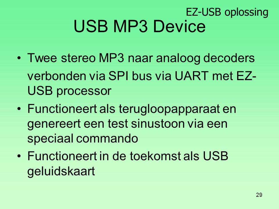 EZ-USB oplossing 29 USB MP3 Device Twee stereo MP3 naar analoog decoders verbonden via SPI bus via UART met EZ- USB processor Functioneert als terugloopapparaat en genereert een test sinustoon via een speciaal commando Functioneert in de toekomst als USB geluidskaart