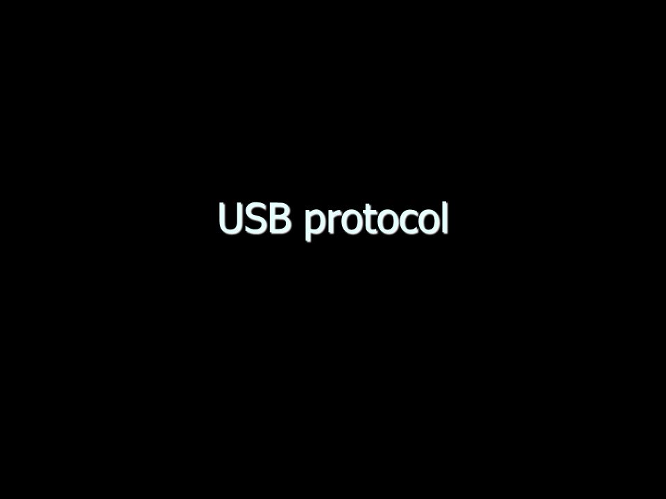 USB protocol 15 Bulk endpoints Gebruikt overgebleven bandbreedte  geen bandbreedte gegarandeerd Middelmatige hoeveelheden data Foutcorrectie en herhaald verzenden Voorbeelden: –Scanner data