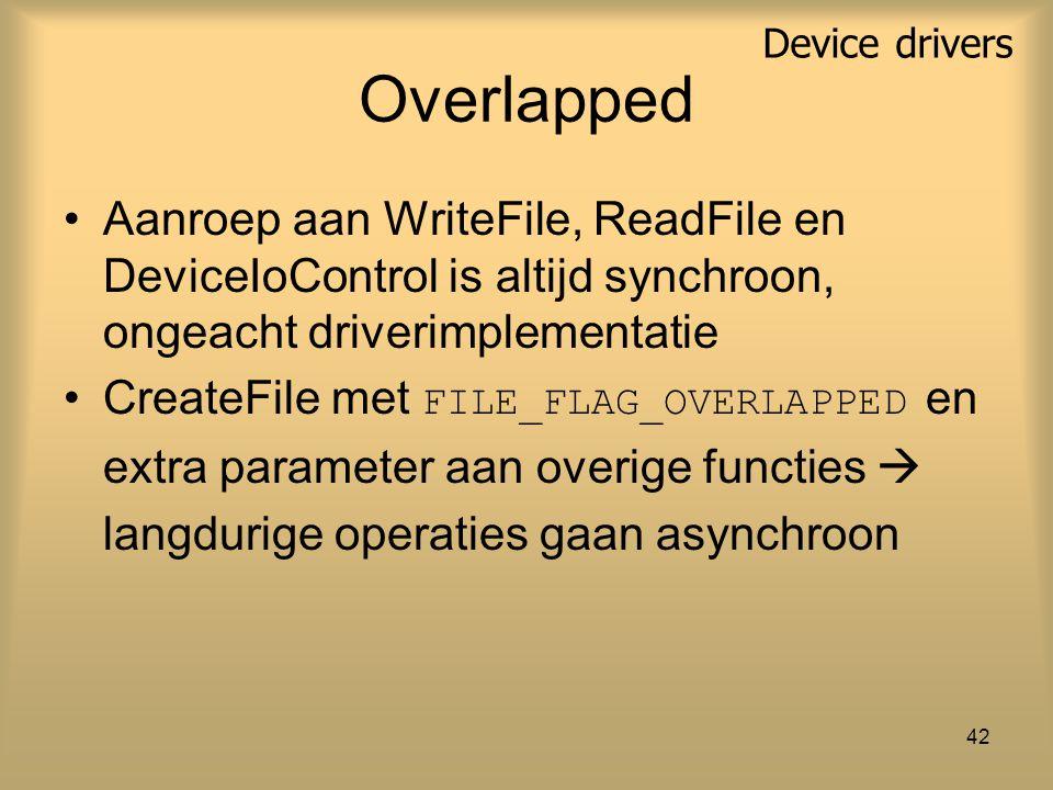 42 Overlapped Aanroep aan WriteFile, ReadFile en DeviceIoControl is altijd synchroon, ongeacht driverimplementatie CreateFile met FILE_FLAG_OVERLAPPED en extra parameter aan overige functies  langdurige operaties gaan asynchroon