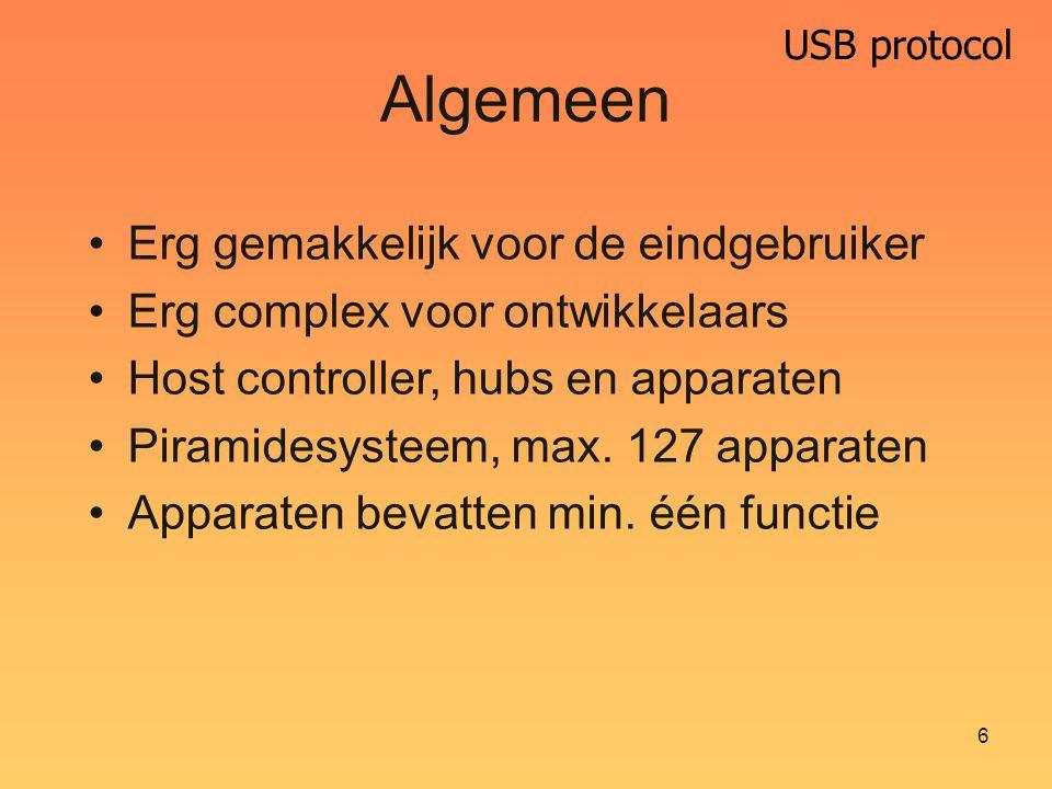 USB protocol 6 Algemeen Erg gemakkelijk voor de eindgebruiker Erg complex voor ontwikkelaars Host controller, hubs en apparaten Piramidesysteem, max.