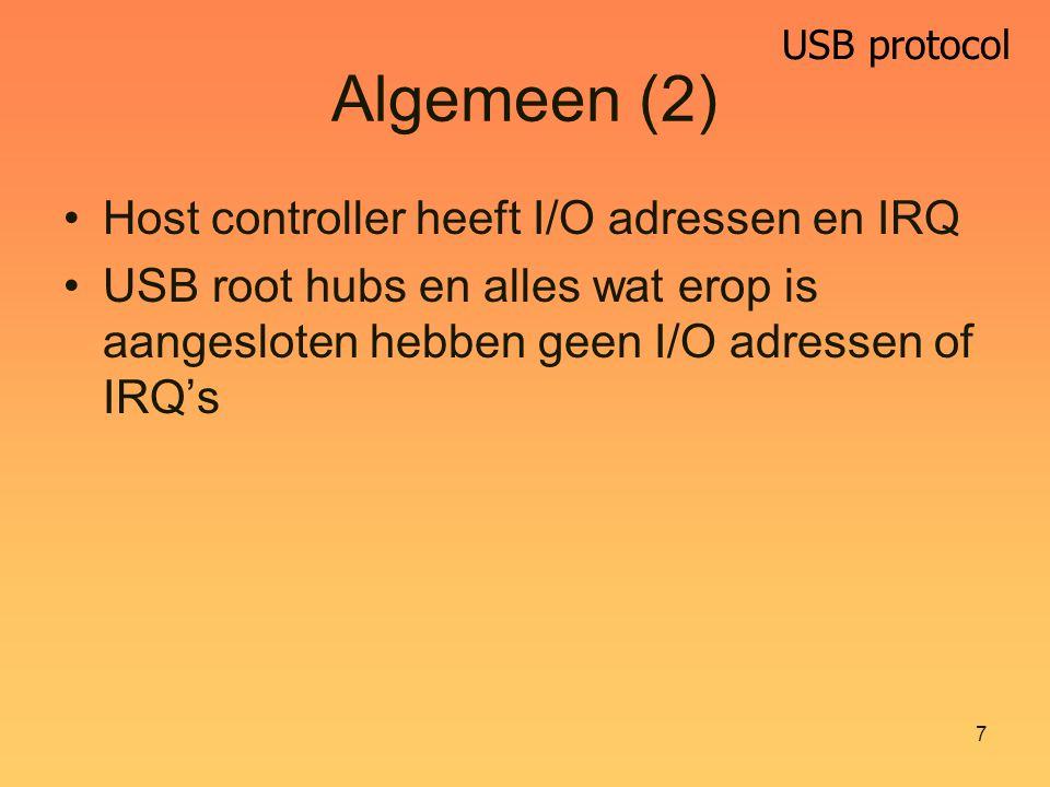 USB protocol 8 Low speed Zeer langzaam10 – 100 kbit/s Zeer goedkoop USB kabel permanent bevestigd Geen gegarandeerde snelheden