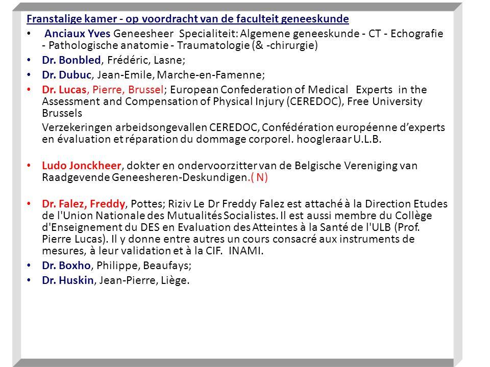 Franstalige kamer - op voordracht van de faculteit geneeskunde Anciaux Yves Geneesheer Specialiteit: Algemene geneeskunde - CT - Echografie - Pathologische anatomie - Traumatologie (& -chirurgie) Dr.