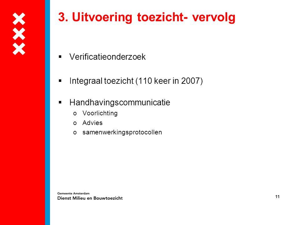11 3. Uitvoering toezicht- vervolg  Verificatieonderzoek  Integraal toezicht (110 keer in 2007)  Handhavingscommunicatie oVoorlichting oAdvies osam