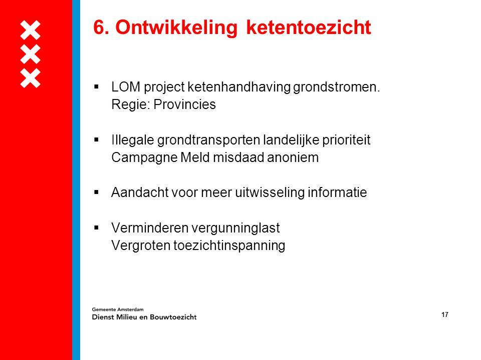 17 6. Ontwikkeling ketentoezicht  LOM project ketenhandhaving grondstromen. Regie: Provincies  Illegale grondtransporten landelijke prioriteit Campa
