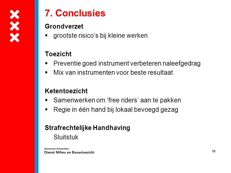 18 7. Conclusies Grondverzet  grootste risico's bij kleine werken Toezicht  Preventie goed instrument verbeteren naleefgedrag  Mix van instrumenten