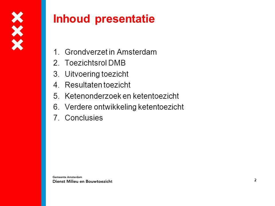 2 Inhoud presentatie 1.Grondverzet in Amsterdam 2.Toezichtsrol DMB 3.Uitvoering toezicht 4.Resultaten toezicht 5.Ketenonderzoek en ketentoezicht 6.Ver