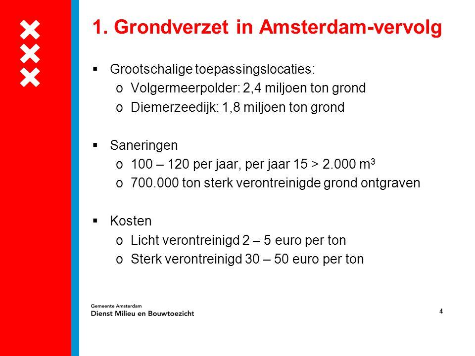 4 1. Grondverzet in Amsterdam-vervolg  Grootschalige toepassingslocaties: oVolgermeerpolder: 2,4 miljoen ton grond oDiemerzeedijk: 1,8 miljoen ton gr