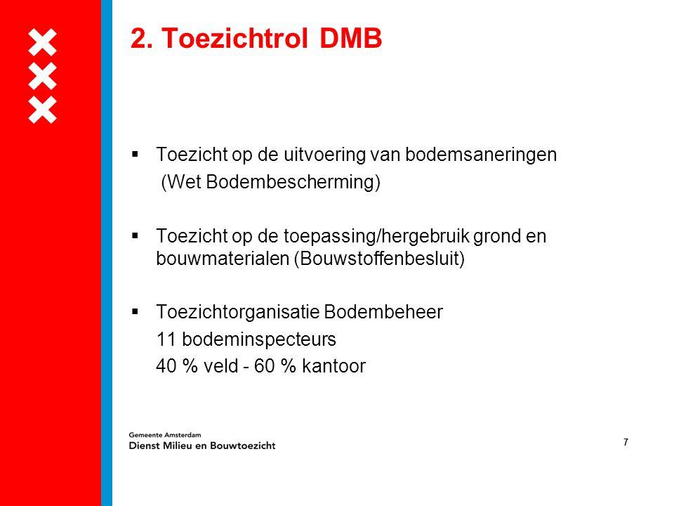 7 2. Toezichtrol DMB  Toezicht op de uitvoering van bodemsaneringen (Wet Bodembescherming)  Toezicht op de toepassing/hergebruik grond en bouwmateri