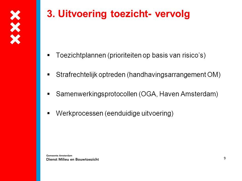 9 3. Uitvoering toezicht- vervolg  Toezichtplannen (prioriteiten op basis van risico's)  Strafrechtelijk optreden (handhavingsarrangement OM)  Same