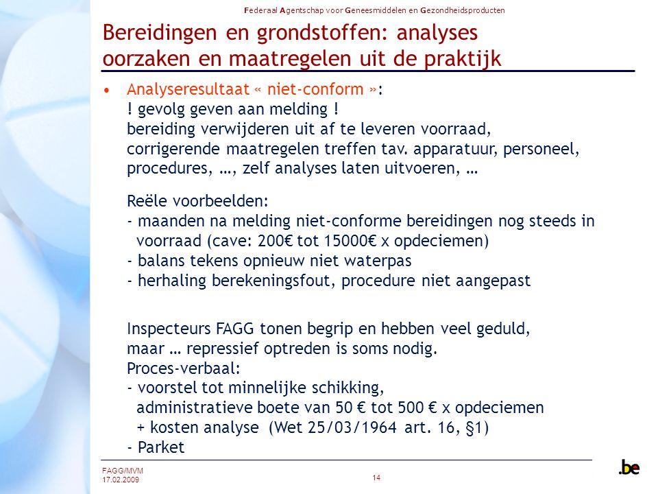 Federaal Agentschap voor Geneesmiddelen en Gezondheidsproducten FAGG/MVM 17.02.2009 14 Bereidingen en grondstoffen: analyses oorzaken en maatregelen uit de praktijk Analyseresultaat « niet-conform »: .