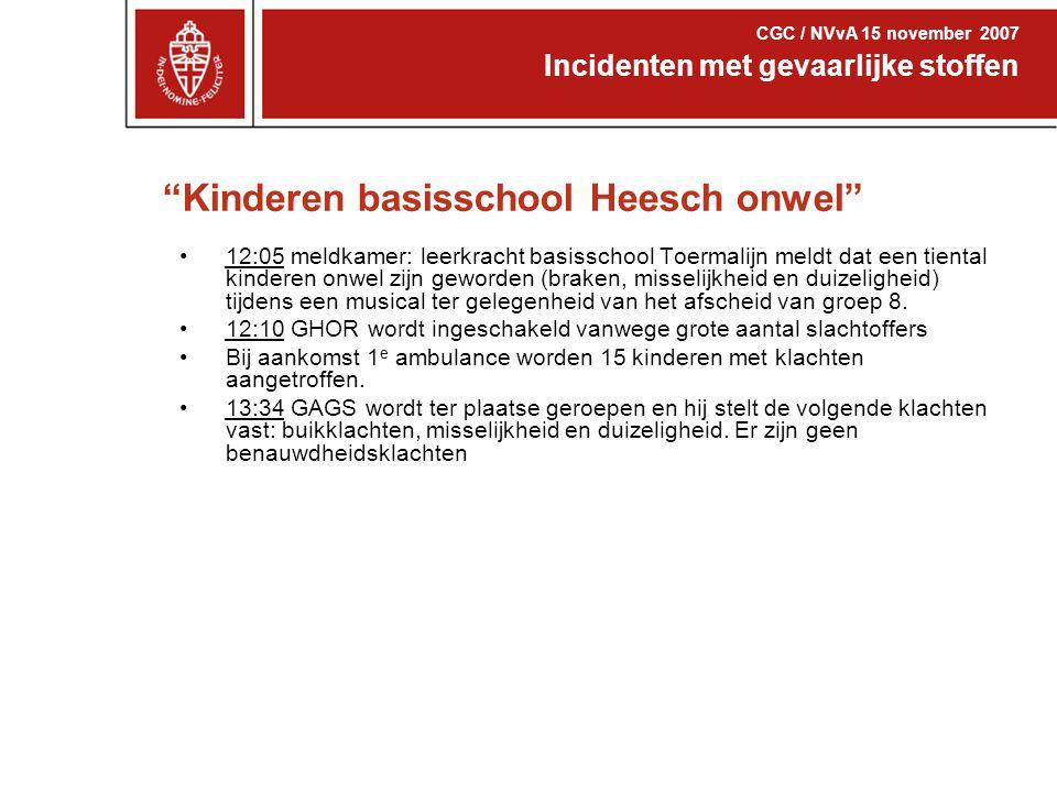 """""""Kinderen basisschool Heesch onwel"""" 12:05 meldkamer: leerkracht basisschool Toermalijn meldt dat een tiental kinderen onwel zijn geworden (braken, mis"""