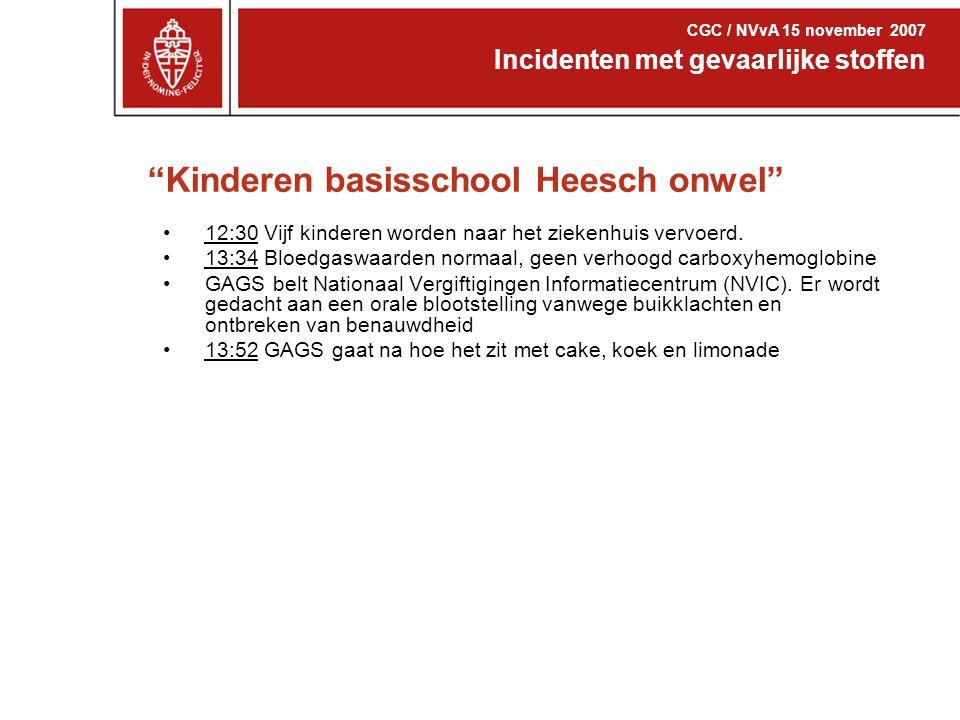 """""""Kinderen basisschool Heesch onwel"""" 12:30 Vijf kinderen worden naar het ziekenhuis vervoerd. 13:34 Bloedgaswaarden normaal, geen verhoogd carboxyhemog"""