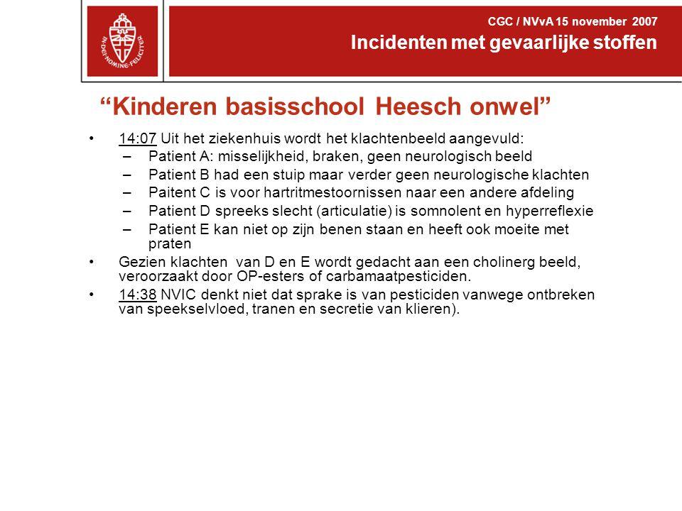 """""""Kinderen basisschool Heesch onwel"""" 14:07 Uit het ziekenhuis wordt het klachtenbeeld aangevuld: –Patient A: misselijkheid, braken, geen neurologisch b"""