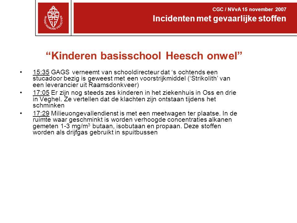 """""""Kinderen basisschool Heesch onwel"""" 15:35 GAGS verneemt van schooldirecteur dat 's ochtends een stucadoor bezig is geweest met een voorstrijkmiddel ('"""