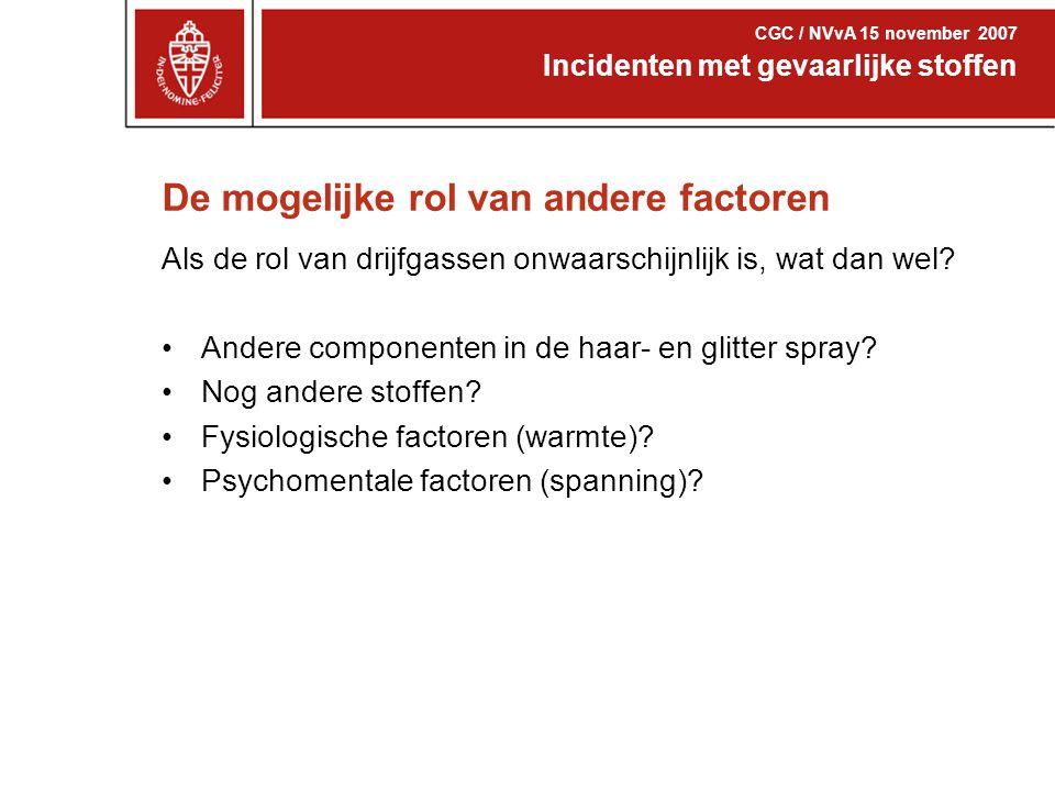 De mogelijke rol van andere factoren Incidenten met gevaarlijke stoffen CGC / NVvA 15 november 2007 Als de rol van drijfgassen onwaarschijnlijk is, wa