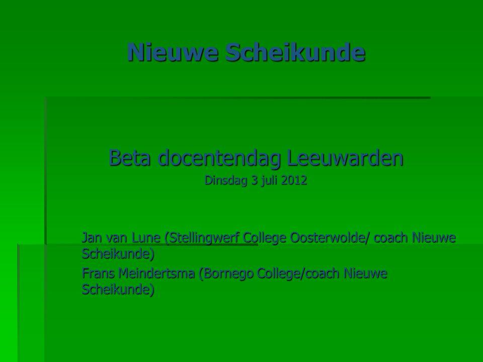 Programma  Voorstellen  Nieuwe Scheikunde - modules  Leerlijn klas 3 – ontwikkeld op de RUG  Docent Ontwikkel Team (DOT) vanaf september 2012 in Leeuwarden  Vragen en groepsdiscussie  Vanmiddag: syllabus Nieuwe Scheikunde (Jan van Lune)