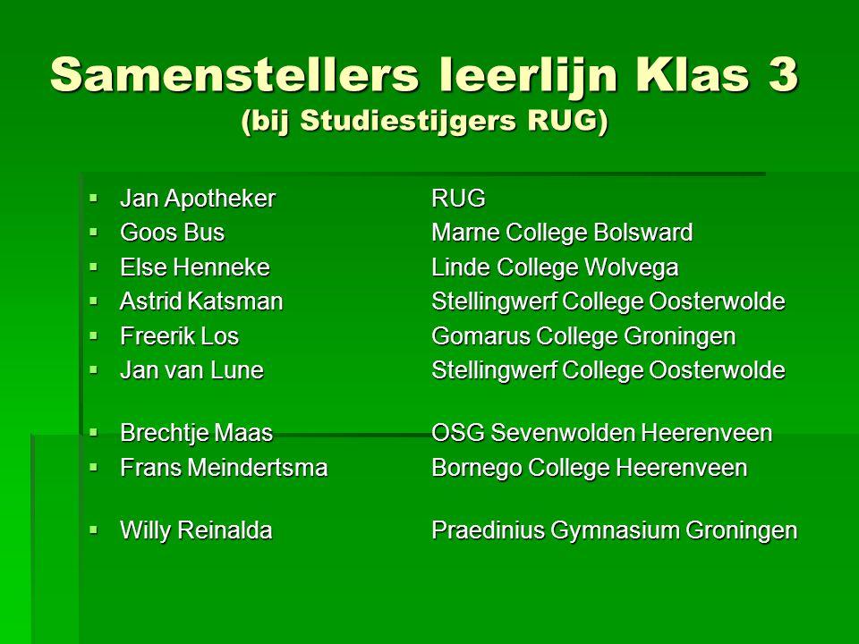 Samenstellers leerlijn Klas 3 (bij Studiestijgers RUG)  Jan ApothekerRUG  Goos BusMarne College Bolsward  Else Henneke Linde College Wolvega  Astr