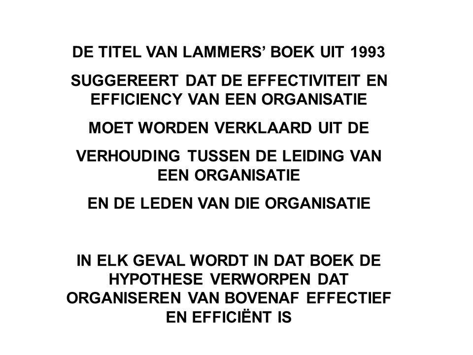 DE TITEL VAN LAMMERS' BOEK UIT 1993 SUGGEREERT DAT DE EFFECTIVITEIT EN EFFICIENCY VAN EEN ORGANISATIE MOET WORDEN VERKLAARD UIT DE VERHOUDING TUSSEN DE LEIDING VAN EEN ORGANISATIE EN DE LEDEN VAN DIE ORGANISATIE IN ELK GEVAL WORDT IN DAT BOEK DE HYPOTHESE VERWORPEN DAT ORGANISEREN VAN BOVENAF EFFECTIEF EN EFFICIËNT IS