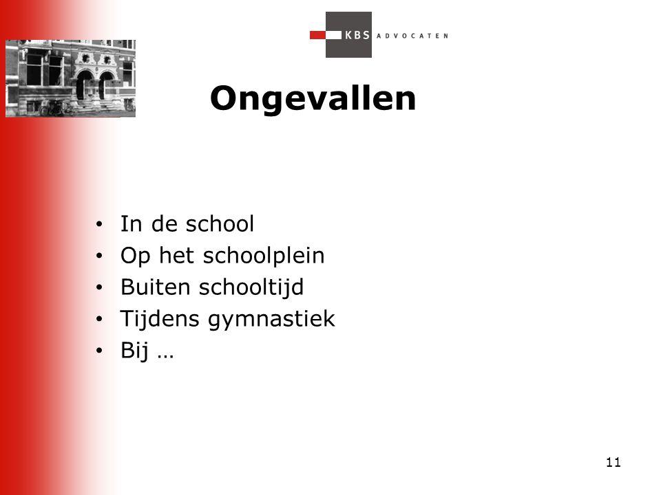 11 Ongevallen In de school Op het schoolplein Buiten schooltijd Tijdens gymnastiek Bij …