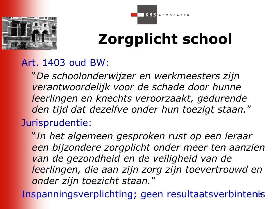 """15 Zorgplicht school Art. 1403 oud BW: """"De schoolonderwijzer en werkmeesters zijn verantwoordelijk voor de schade door hunne leerlingen en knechts ver"""