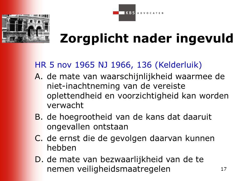 17 Zorgplicht nader ingevuld HR 5 nov 1965 NJ 1966, 136 (Kelderluik) A.de mate van waarschijnlijkheid waarmee de niet-inachtneming van de vereiste opl