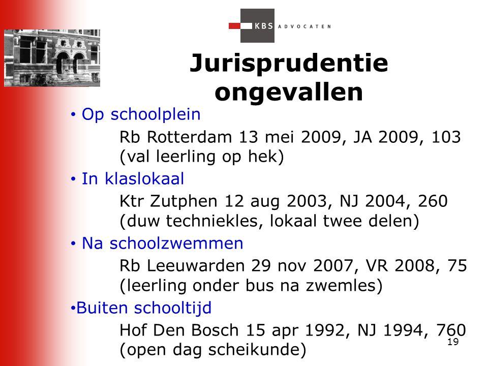 19 Jurisprudentie ongevallen Op schoolplein Rb Rotterdam 13 mei 2009, JA 2009, 103 (val leerling op hek) In klaslokaal Ktr Zutphen 12 aug 2003, NJ 200