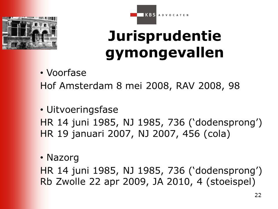 22 Jurisprudentie gymongevallen Voorfase Hof Amsterdam 8 mei 2008, RAV 2008, 98 Uitvoeringsfase HR 14 juni 1985, NJ 1985, 736 ('dodensprong') HR 19 ja