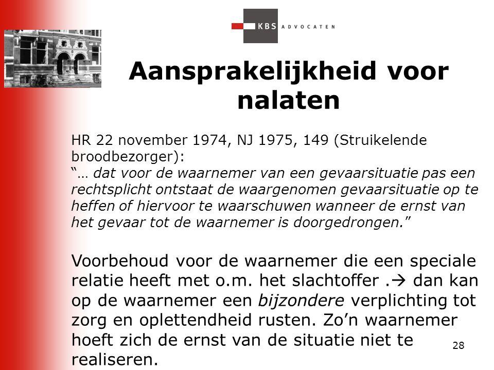 """28 Aansprakelijkheid voor nalaten HR 22 november 1974, NJ 1975, 149 (Struikelende broodbezorger): """"… dat voor de waarnemer van een gevaarsituatie pas"""
