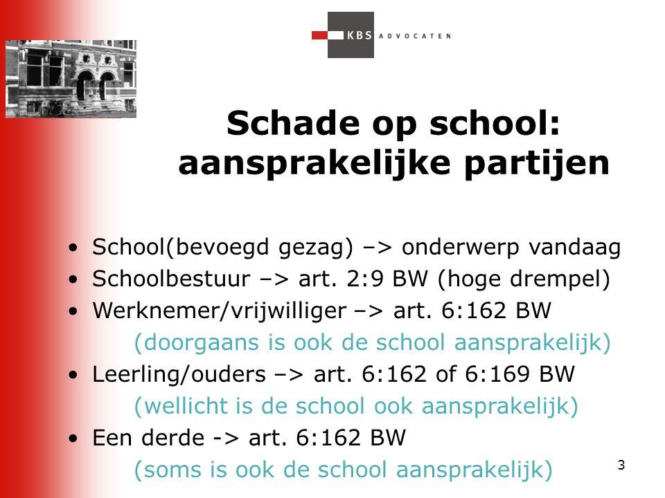 3 Schade op school: aansprakelijke partijen School(bevoegd gezag) –> onderwerp vandaag Schoolbestuur –> art. 2:9 BW (hoge drempel) Werknemer/vrijwilli