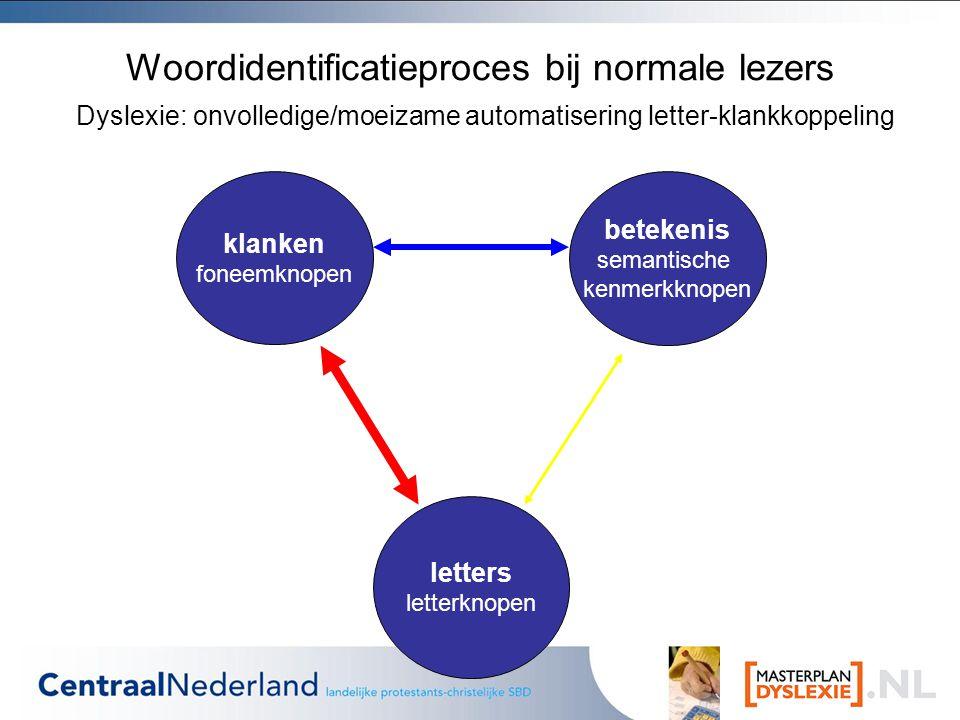 Woordidentificatieproces bij normale lezers Dyslexie: onvolledige/moeizame automatisering letter-klankkoppeling klanken foneemknopen letters letterknopen betekenis semantische kenmerkknopen