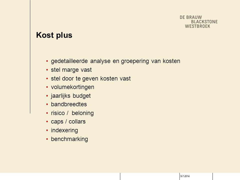 9-7-2014 Kost plus gedetailleerde analyse en groepering van kosten stel marge vast stel door te geven kosten vast volumekortingen jaarlijks budget ban