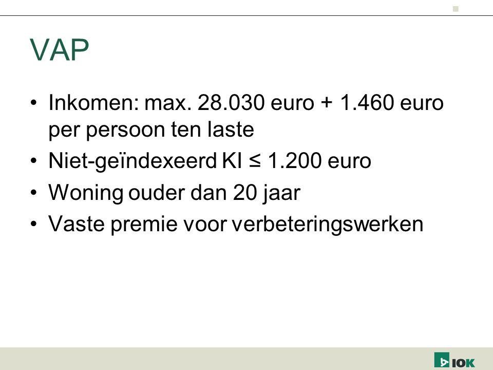 VAP Inkomen: max. 28.030 euro + 1.460 euro per persoon ten laste Niet-geïndexeerd KI ≤ 1.200 euro Woning ouder dan 20 jaar Vaste premie voor verbeteri