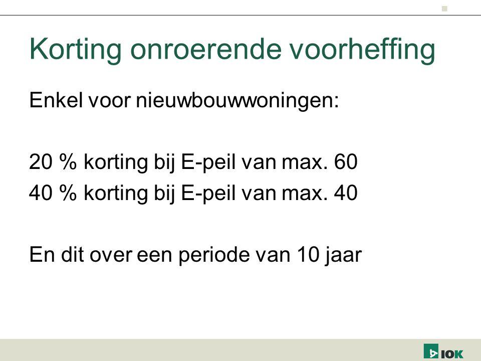 Korting onroerende voorheffing Enkel voor nieuwbouwwoningen: 20 % korting bij E-peil van max.