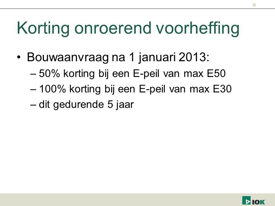 Korting onroerend voorheffing Bouwaanvraag na 1 januari 2013: –50% korting bij een E-peil van max E50 –100% korting bij een E-peil van max E30 –dit gedurende 5 jaar