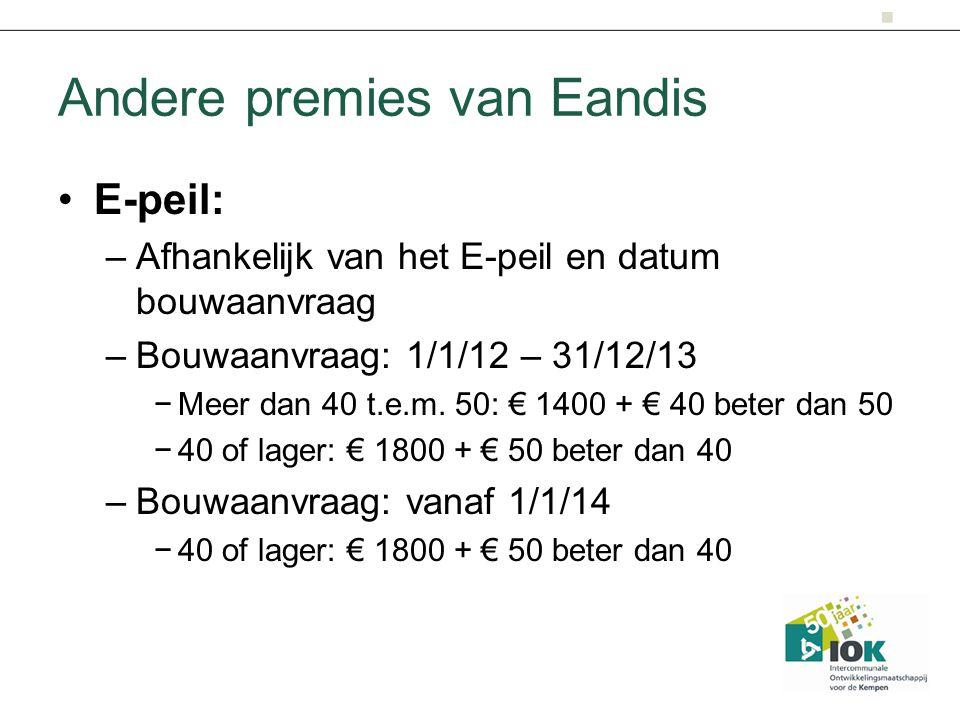 Andere premies van Eandis E-peil: –Afhankelijk van het E-peil en datum bouwaanvraag –Bouwaanvraag: 1/1/12 – 31/12/13 −Meer dan 40 t.e.m. 50: € 1400 +