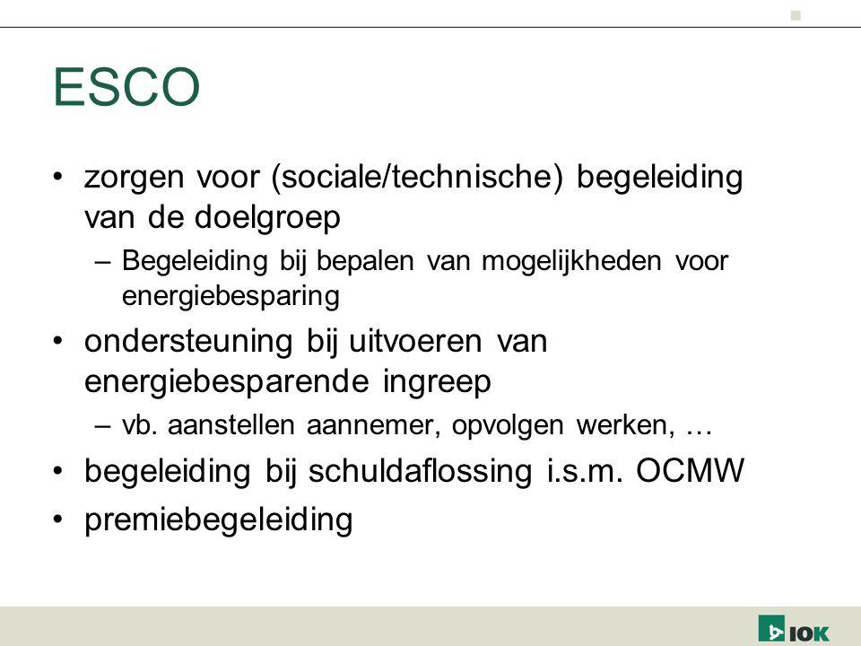 ESCO zorgen voor (sociale/technische) begeleiding van de doelgroep –Begeleiding bij bepalen van mogelijkheden voor energiebesparing ondersteuning bij uitvoeren van energiebesparende ingreep –vb.