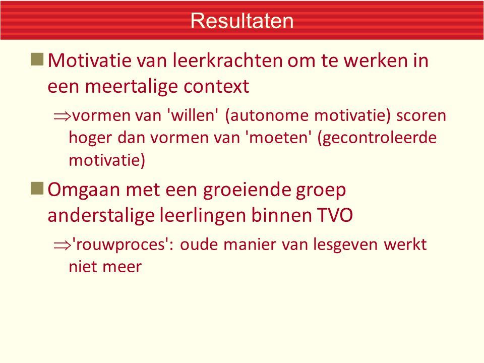 Resultaten Motivatie van leerkrachten om te werken in een meertalige context  vormen van 'willen' (autonome motivatie) scoren hoger dan vormen van 'm
