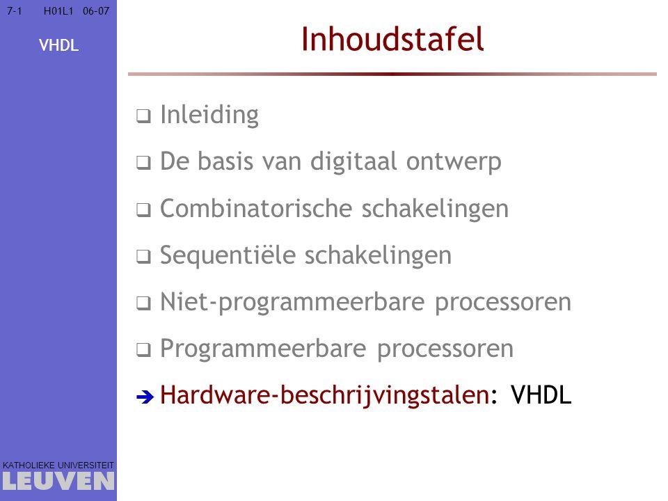 VHDL KATHOLIEKE UNIVERSITEIT 7-5206–07H01L1 Subprogramma's =verzameling van sequentiële uitdrukkingen subprogram_specification is [constant, variable, (sub)type declaration]… [subprogram]… begin statement(s) end; Mogelijke subprogram_specification:  Procedure: equivalent met een statement procedure name [ ( interface_list ) ]  interface_list is een ' ; '-gescheiden lijst van [ signal ] param_name(s) : [mode] (sub)type  mode is één van in, out, inout, buffer  Functie: (onderdeel van) een expression function name [ ( interface_list ) ] return (sub)type  Minstens één statement(s) is een return expression ; Inleiding In vogelvlucht  Taalelementen  Lexicaal  Data  Bewerkingen  Controle  Sub- programma s  Bibliotheken Hardware- beschrijving Simulatie Synthese
