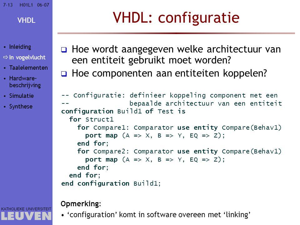 VHDL KATHOLIEKE UNIVERSITEIT 7-1306–07H01L1 VHDL: configuratie  Hoe wordt aangegeven welke architectuur van een entiteit gebruikt moet worden?  Hoe