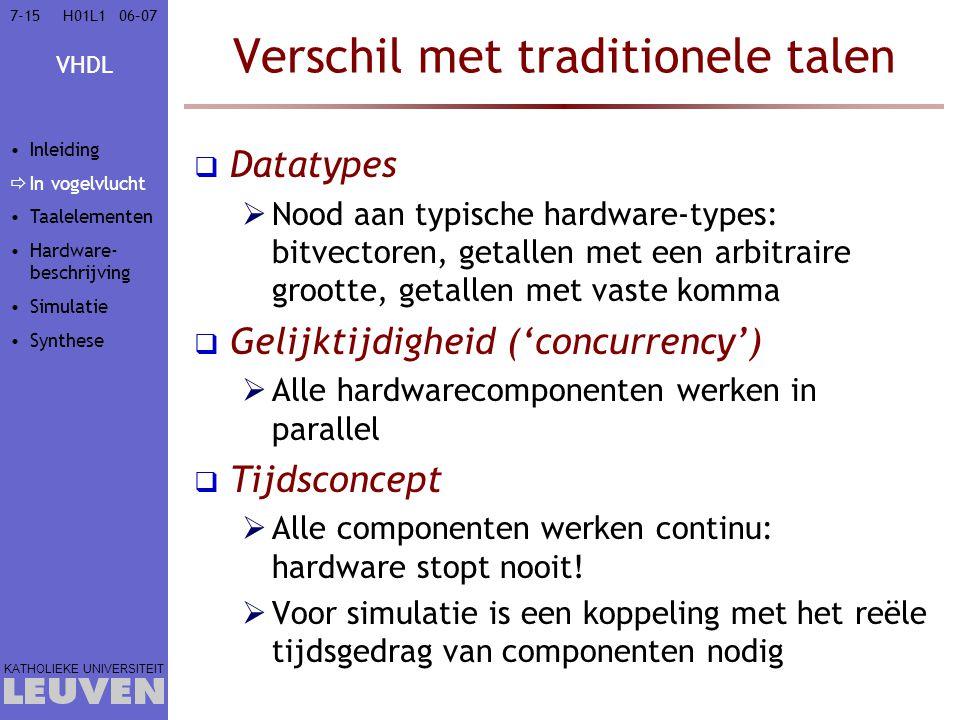 VHDL KATHOLIEKE UNIVERSITEIT 7-1506–07H01L1 Verschil met traditionele talen  Datatypes  Nood aan typische hardware-types: bitvectoren, getallen met