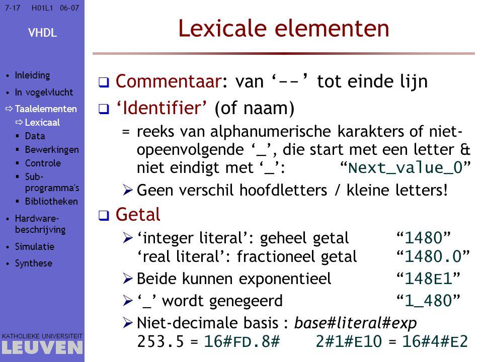 VHDL KATHOLIEKE UNIVERSITEIT 7-1706–07H01L1 Lexicale elementen  Commentaar: van ' --' tot einde lijn  'Identifier' (of naam) =reeks van alphanumeris