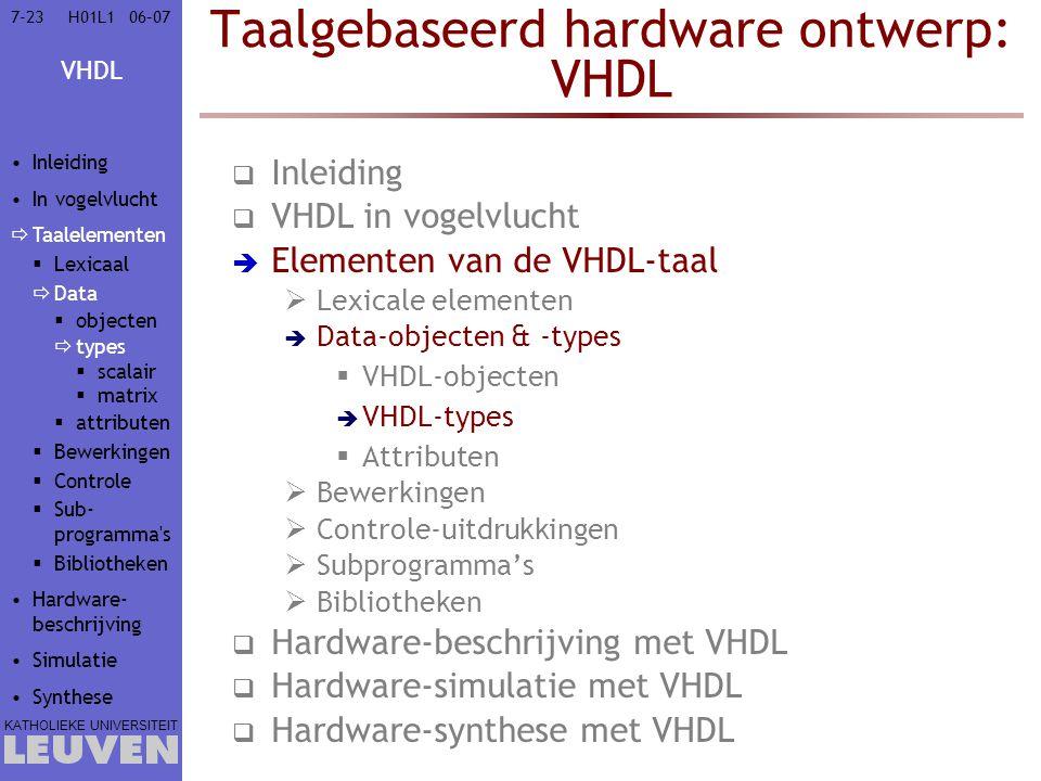VHDL KATHOLIEKE UNIVERSITEIT 7-2306–07H01L1 Taalgebaseerd hardware ontwerp: VHDL  Inleiding  VHDL in vogelvlucht  Elementen van de VHDL-taal  Lexi
