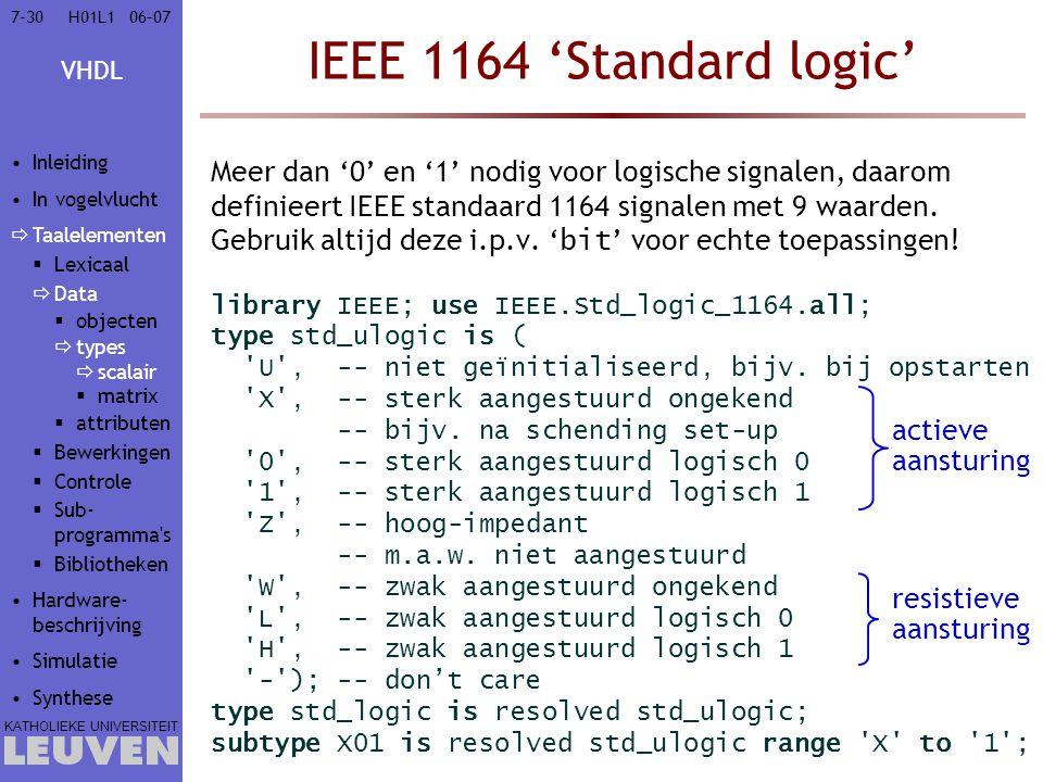 VHDL KATHOLIEKE UNIVERSITEIT 7-3006–07H01L1 IEEE 1164 'Standard logic' Meer dan '0' en '1' nodig voor logische signalen, daarom definieert IEEE standa