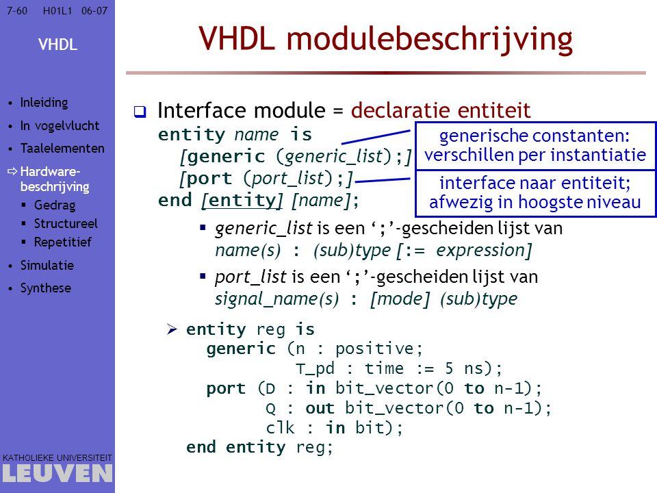 VHDL KATHOLIEKE UNIVERSITEIT 7-6006–07H01L1 VHDL modulebeschrijving  Interface module = declaratie entiteit entity name is [ generic ( generic_list ); ] [ port ( port_list ); ] end [ entity ] [name] ;  generic_list is een ' ; '-gescheiden lijst van name(s) : (sub)type [ := expression]  port_list is een ' ; '-gescheiden lijst van signal_name(s) : [mode] (sub)type  entity reg is generic (n : positive; T_pd : time := 5 ns); port (D : in bit_vector(0 to n-1); Q : out bit_vector(0 to n-1); clk : in bit); end entity reg; generische constanten: verschillen per instantiatie interface naar entiteit; afwezig in hoogste niveau Inleiding In vogelvlucht Taalelementen  Hardware- beschrijving  Gedrag  Structureel  Repetitief Simulatie Synthese